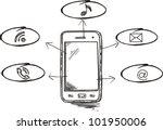 smart phone mobile doodle | Shutterstock .eps vector #101950006