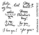 set valentine day lettering... | Shutterstock . vector #1019507812