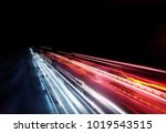 fast moving traffic light... | Shutterstock . vector #1019543515