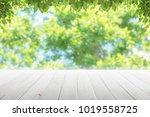 empty wooden table with party... | Shutterstock . vector #1019558725