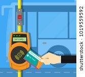 card ticket validation scanning ... | Shutterstock .eps vector #1019559592