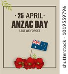 anzac day poppies memorial... | Shutterstock . vector #1019559796