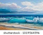 blue  tropical sea and beach... | Shutterstock . vector #1019564596
