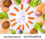 easter background with rabbit ... | Shutterstock . vector #1019568946
