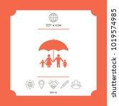 family under umbrella   family... | Shutterstock .eps vector #1019574985