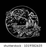 illustration of fir  moon ... | Shutterstock .eps vector #1019582635