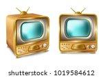 vector cartoon retro vintage tv ... | Shutterstock .eps vector #1019584612