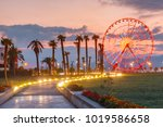 illuminated ferris wheel at... | Shutterstock . vector #1019586658