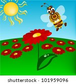 humble bee with flowers | Shutterstock .eps vector #101959096