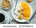 healthy light breakfast ... | Shutterstock . vector #1019598016