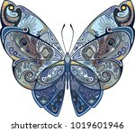 Stock vector pridesign element butterfly with a pattern in blue tonesnt 1019601946