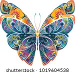 Stock vector design element butterfly with pattern bright motley 1019604538