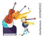 background with musical... | Shutterstock .eps vector #1019605522