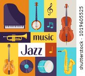 jazz music retro poster with... | Shutterstock .eps vector #1019605525