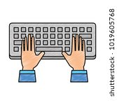 computer keyboard with hands... | Shutterstock .eps vector #1019605768