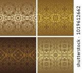 set of seamless vintage... | Shutterstock .eps vector #1019612662