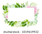 flowers frame template.  vector ... | Shutterstock .eps vector #1019619922