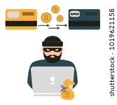 hacker thief with notebook and... | Shutterstock .eps vector #1019621158