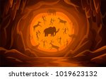 prehistoric cave with cave... | Shutterstock .eps vector #1019623132