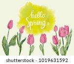 spring watercolor background ... | Shutterstock .eps vector #1019631592
