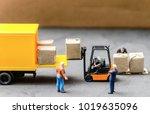 miniature warehouse workers... | Shutterstock . vector #1019635096