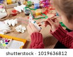 child make crafts and toys ...   Shutterstock . vector #1019636812