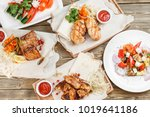 grilled chicken breast and... | Shutterstock . vector #1019641186