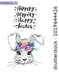 easter greeting card with silly ... | Shutterstock .eps vector #1019644426