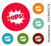 comic boom oops icons circle... | Shutterstock .eps vector #1019645176