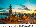 hamburg harbour in the evening  ...   Shutterstock . vector #1019646232