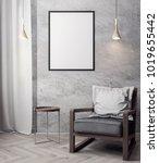 mockup poster in the interior ... | Shutterstock . vector #1019655442