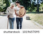 social worker. nice pleasant... | Shutterstock . vector #1019657095