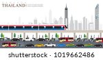 vector of bangkok city  rush... | Shutterstock .eps vector #1019662486