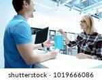 thank you. handsome man keeping ... | Shutterstock . vector #1019666086