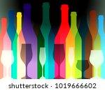 wine background vector.bottle... | Shutterstock .eps vector #1019666602