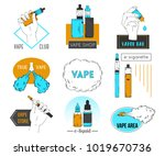collection of vape labels ... | Shutterstock .eps vector #1019670736