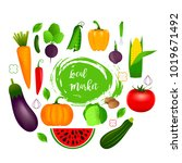 collection of realistic healthy ... | Shutterstock .eps vector #1019671492
