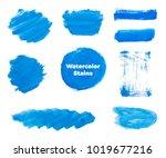 set of blue hand paint  round...   Shutterstock .eps vector #1019677216