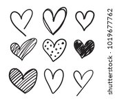 handdrawn collection set of 9... | Shutterstock .eps vector #1019677762