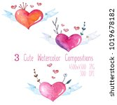 cute watercolor set of... | Shutterstock . vector #1019678182