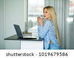 beautiful young girl working on ... | Shutterstock . vector #1019679586