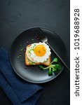toast with guacamole sauce from ... | Shutterstock . vector #1019688928