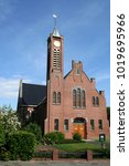 Small photo of Netherlands,Groningen,Delfzijl,Spijk,july 2016:Calvinistical church