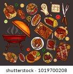 set of illustrations  elements... | Shutterstock . vector #1019700208