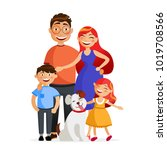 happy family are standing... | Shutterstock .eps vector #1019708566
