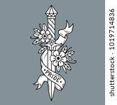 vector tattoo dagger with...   Shutterstock .eps vector #1019714836