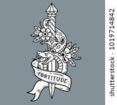vector tattoo dagger with green ... | Shutterstock .eps vector #1019714842