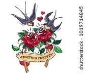 tattoo two red roses with... | Shutterstock .eps vector #1019714845