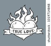 flaming heart tattoo with... | Shutterstock .eps vector #1019714848