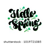 hello welcome spring lettering. ... | Shutterstock .eps vector #1019721085